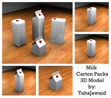 Milk Carton Packs - 3D Model by TahaJawaid