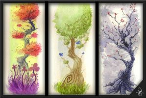 watercolor trees by dmon-art