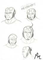 Hellboy Head Sketches by Primogenitor34