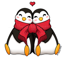 Penguins in love by SilveryLugia