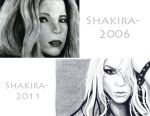 Shakira 2006 and 2011 by Me: Robert Ryan's Art by Robert-Ryans-Art