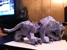 Side View Warcraft Sabertooth Cat Papercraft by Meercat122
