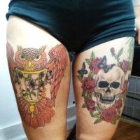 Owl and Skull Thigh Tattoos by ngoc50