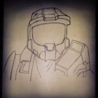 Master Chief line drawing by joebentley10