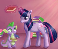 Twilight and Spike by Moferiah