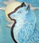 Blue Fox and Blue Night Sky by golden-demeter