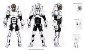 robot concept art for a game by bua