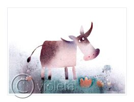 Cow on a cocoa flowers field by vleta