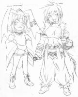 33: MYAO AND GAO LINEART by crybringer