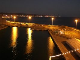 Civitavecchia at night by bschulze