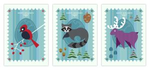 Holiday Cards Set of 3 by daabcreative