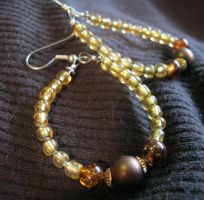 earrings-gold and green by Galasdian