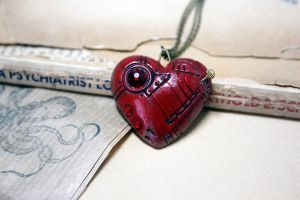 Red Steampunk heart pendant by Devil's Jewel by Catarios