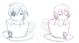 Ciel and Alois in a teacup by inkblot-wolf
