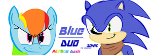Blue Duo: Sonic the Hedgehog and Rainbow Dash by NeonTheHedgehog11
