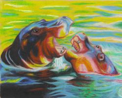 Hippopotamus Oil Pastels by wildlifeart