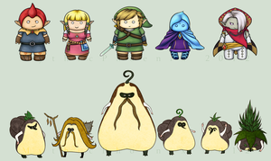 LoZ: Skyward Sword Chibi Set by MythicPhoenix
