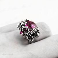 Ruby Fantasy wire-wrapped ring II by AnnaMroczek