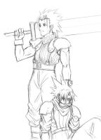 FFVIILO: Zack and Cloud sketch by Risachantag