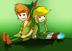 Link and Peter Pan coloured by MyCalamityReminisce