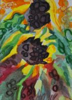 ATC Sunflower Abstract by waughtercolors