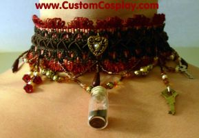 Burgundy bottle and key choker by The-Cute-Storm