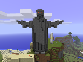Evil jesus statue in Minecraft by chickenmobile