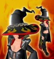 Flaming Leather Witch Hat and by DovSherman