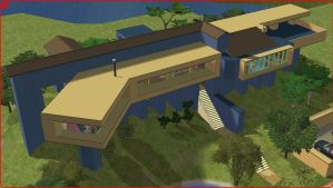Sims 2 Modern blue house by RamboRocky