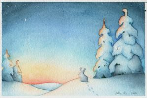Winter sunset by Neatha