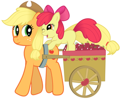 MLP: Applejack and Apple Bloom - Vector by giantsquidie