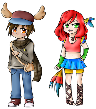 Moose and Parrot chibis by Skylar-Wolf