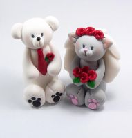 Polar Bear and Grey Cat Wedding Cake Topper by HeartshapedCreations