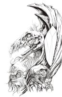 Dark Crystal T-shirt Design pen and ink by TheFranology