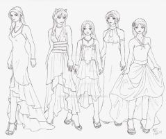 DR Girls in Gowns by BakayashaEclipse