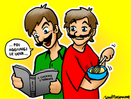 ART-TRADE Mario n Luigi Baking by ForeverSonu