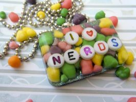 I Heart Nerds - Resin Necklace by elephont