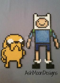 Jake and Finn Perler Bead Figures by AshMoonDesigns