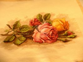 Cross Stitch Roses by wandering-pen