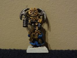 Dwarf mining regiment standard bearer. by Unhodin