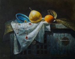 Porcelain and fruits on the cupboard by marcheba
