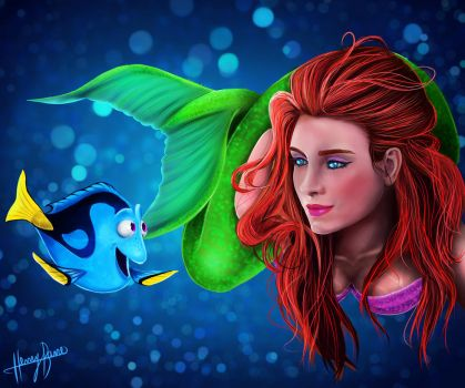 Dory and Ariel (+Speedpaint) by henryjbarre