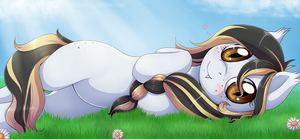a bed of grass and flowers by Evomanaphy