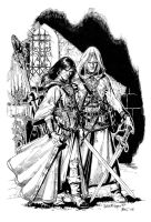 Raistlin and Dalamar inks by thenumber42