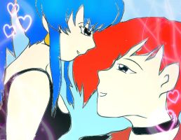 Leona and Iori Heart Background by arctic2009