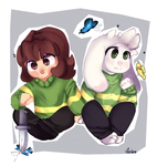 ~Asriel and chara~ by Asriee