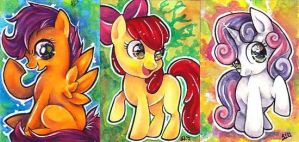 Cutie Mark Crusaders ACEO set by GreyRadian