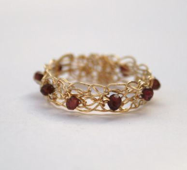 Garnet and Gold Crocheted Ring by WrappedbyDesign