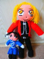 Edward Elric and Roy Mustang plushies by Crystal-Dream