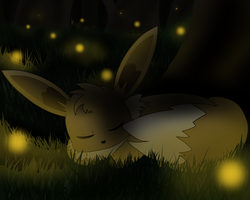 Sleeping Eevee by Difixini